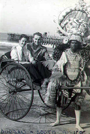 Dennis and Stuart in Rickshaw  at Durban