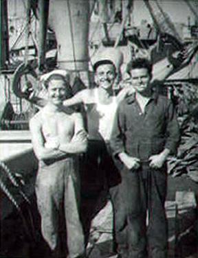 Dennis, Stuart and Henry aboard the Samlorian