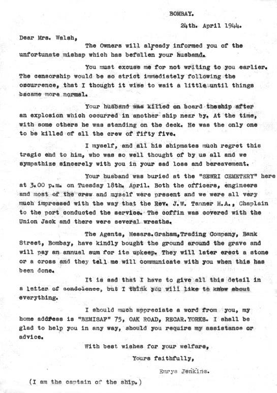 Letter From Captain Emrys Jenkins