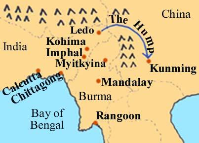 Map showing  Burma Hump