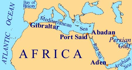 Map of Bay of Biscay to Arabia