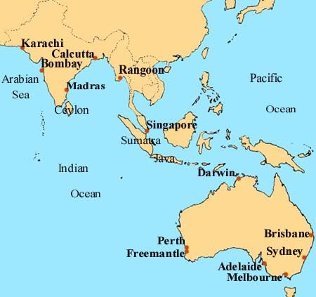 Map India to Australia