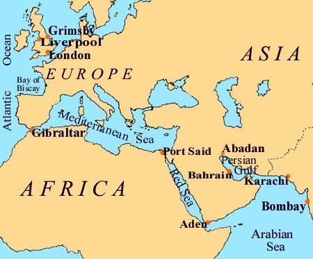 Map UK to Bahrain