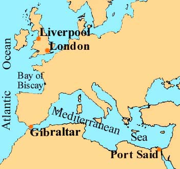Map Covering UK to the Mediterranean